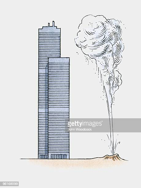 illustration showing height of waimangu geyser compared to sears tower - chicago loop stock illustrations, clip art, cartoons, & icons