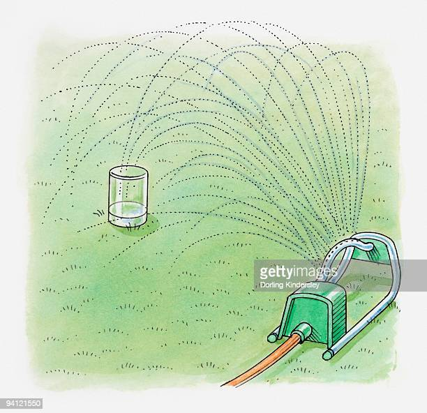 Illustration showing how to use garden sprinkler and jar to calculate how long to water an area of l