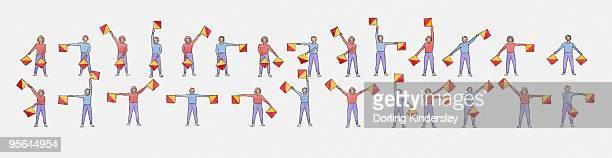 illustration showing semaphore signalling using flags. - semaphore stock illustrations