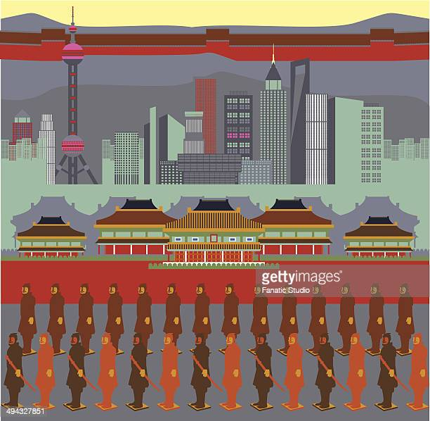 ilustrações de stock, clip art, desenhos animados e ícones de illustration showing top tourist attractions in china - onu