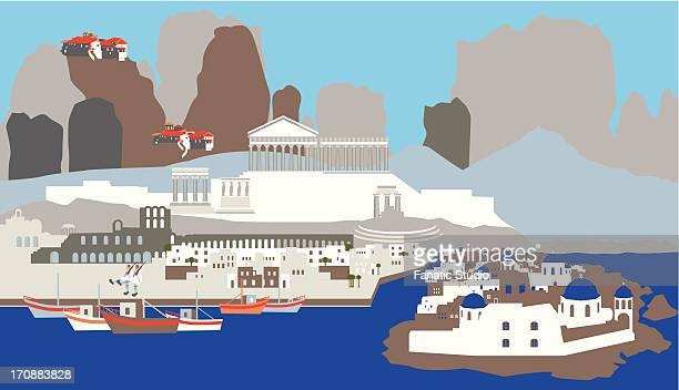 illustration showing top tourist attractions in greece - santorini stock illustrations