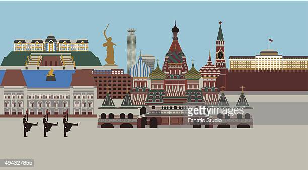 illustration showing top tourist attractions in russia - onion dome stock illustrations, clip art, cartoons, & icons
