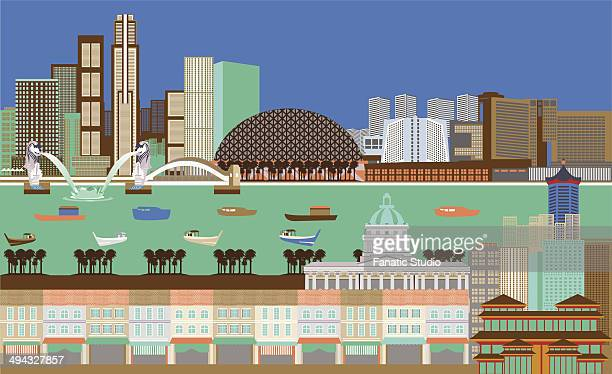 illustration showing top tourist attractions in singapore - merlion stock illustrations