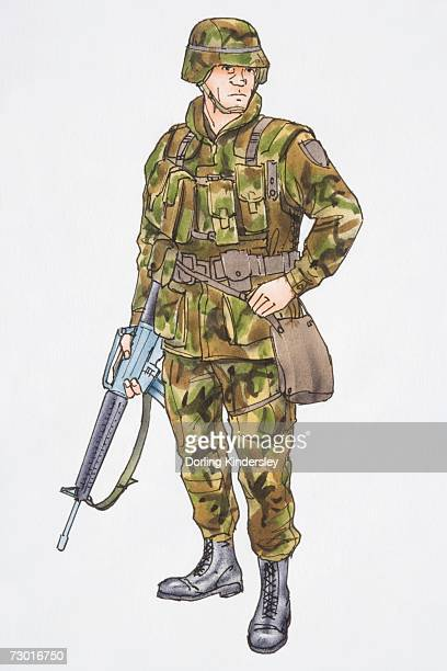 Illustration, soldier in camouflage gear holding machine gun.