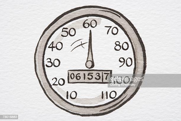 illustration, speedometer showing miles per hour and odometer showing miles travelled. - odometer stock illustrations, clip art, cartoons, & icons