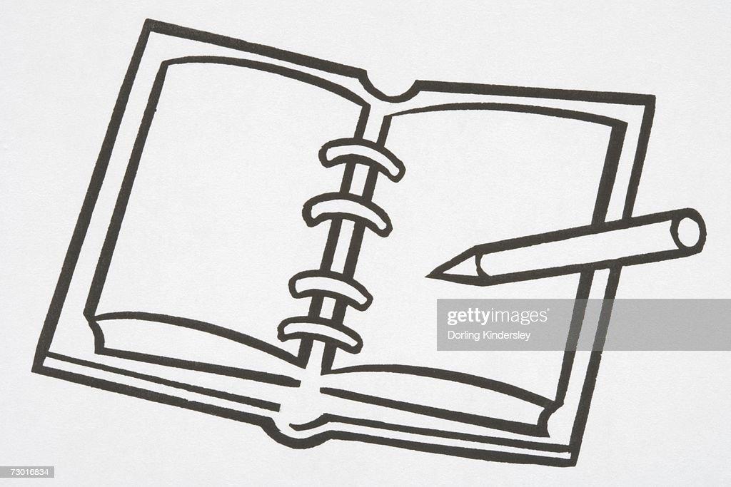 Illustration, spiral notebook, pen lying on open page. : Stock Illustration
