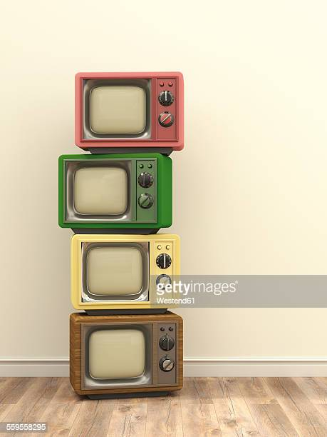 illustrations, cliparts, dessins animés et icônes de illustration, stack of old tv - empilé