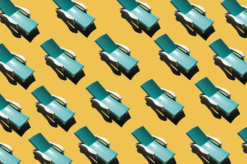 3D Illustration, summer, concept, row of sun loungers - gettyimageskorea