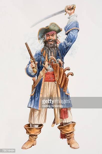 illustration, the infamous pirate blackbeard hurling sword above his head in one hand and holding pistol in the other, belt with four sheathed pistols hanging from his shoulder, plaited beard and loose-fitting boots, front view. - infamous stock illustrations, clip art, cartoons, & icons