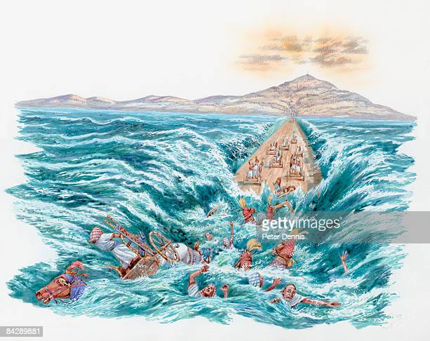 illustration the red sea covering the chariots and horsemen of pharaoh's army after parting for moses and the hebrews  - 宗教的人物 モーゼ点のイラスト素材/クリップアート素材/マンガ素材/アイコン素材