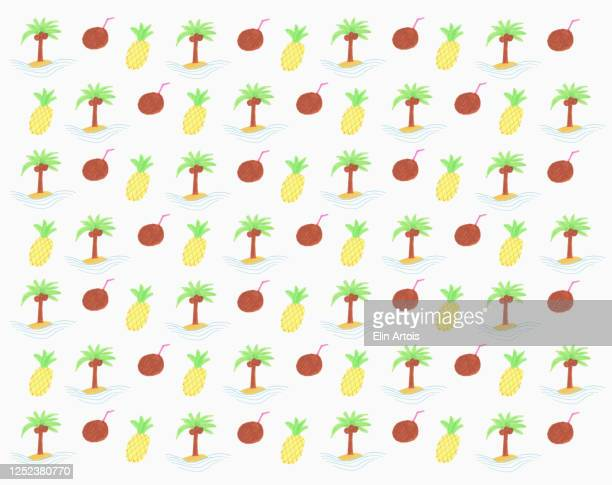 illustration tropical pineapple and coconut pattern on white background - colour image stock illustrations