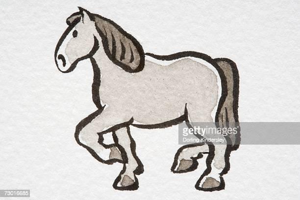 Illustration, trotting Horse (Equus caballus ), side view.