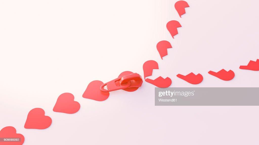 3d Illustration Zipper Heart Shape Symbols Stock Illustration
