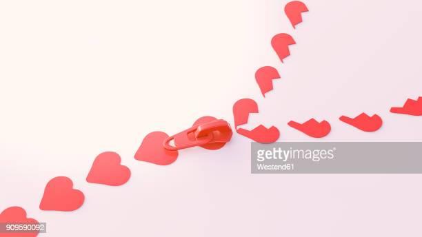 3d illustration, zipper, heart shape symbols - bonding stock illustrations