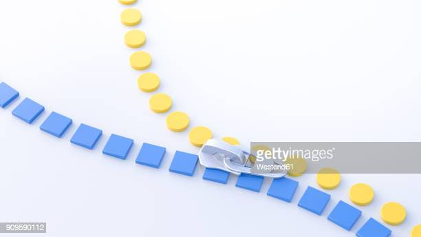 3d illustration, zipper, yellow circles and blue squares - angle stock illustrations