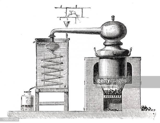 ilustrações, clipart, desenhos animados e ícones de ilustrações destilaria esquemática sem letras de índice - livro didático
