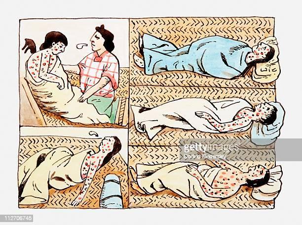ilustrações, clipart, desenhos animados e ícones de illustrations of aztec's suffering from smallpox virus spread by spanish - asteca