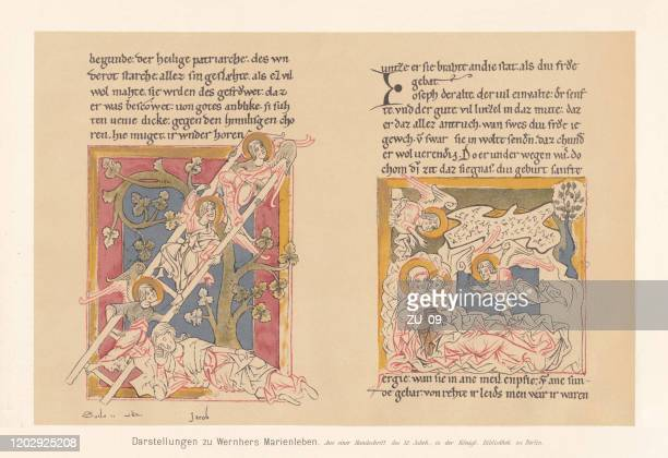 illustrations of wernher's marienleben, 12th century, facsimile (chromolithograph), published 1897 - new testament stock illustrations