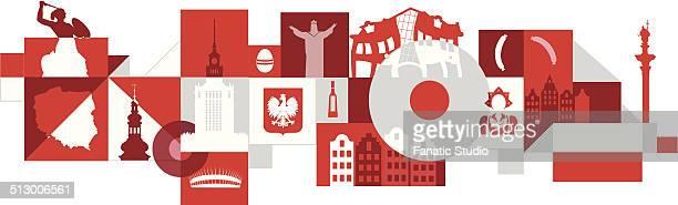 illustrative collage of poland over white background - polnische flagge stock-grafiken, -clipart, -cartoons und -symbole