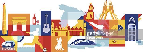 illustrative collage of spain over white background - valencia spain stock-grafiken, -clipart, -cartoons und -symbole