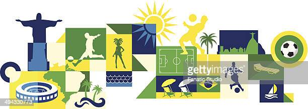 ilustrações de stock, clip art, desenhos animados e ícones de illustrative collage of sports and attractions in brazil - samba