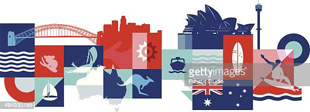 illustrative collage of tourist attractions in australia - sydney opera house stock illustrations