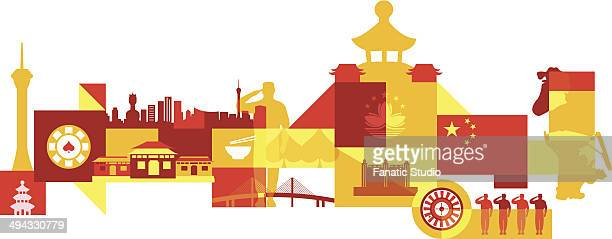 Illustrative collage of tourist attractions in Macau, China