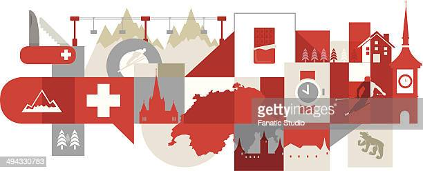 Illustrative collage of tourist attractions in Switzerland