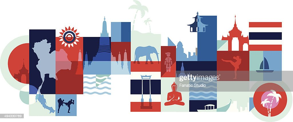 Illustrative Collage Of Tourist Attractions In Thailand Bangkok Vector Art