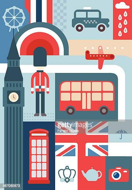 Illustrative collage representing city life in London