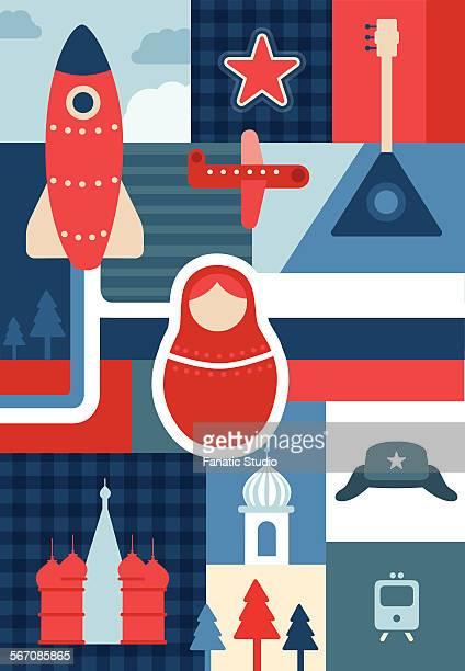 ilustrações, clipart, desenhos animados e ícones de illustrative collage representing russian culture - cúpula estilo russo