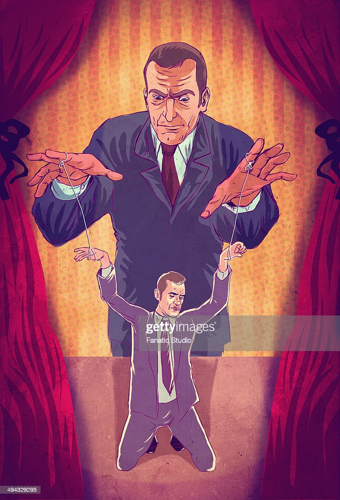 Illustrative concept of boss controlling executive as puppet : stock illustration