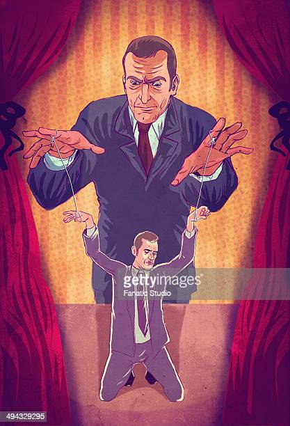 illustrative concept of boss controlling executive as puppet - office politics stock illustrations, clip art, cartoons, & icons