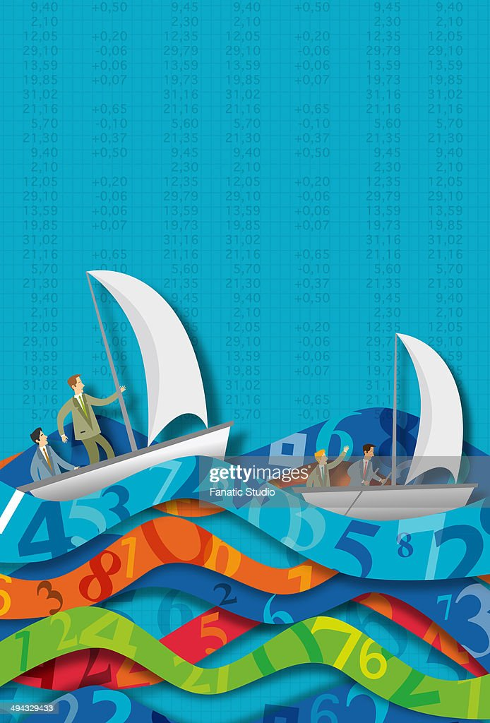 Illustrative concept of business people in sailboats on number waves representing ups and downs of stock market : stock illustration
