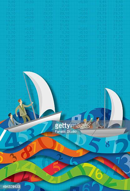 illustrative concept of business people in sailboats on number waves representing ups and downs of stock market - cash flow点のイラスト素材/クリップアート素材/マンガ素材/アイコン素材