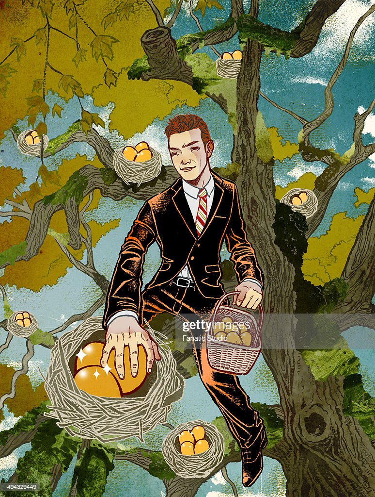 Illustrative concept of man collecting fruits from tree representing business profit : stock illustration