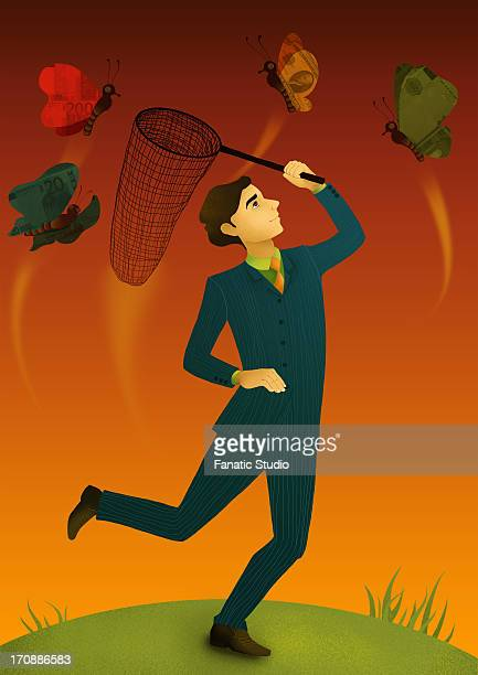 illustrative concept of man with fishing net catching butterflies representing business offers - catching stock illustrations