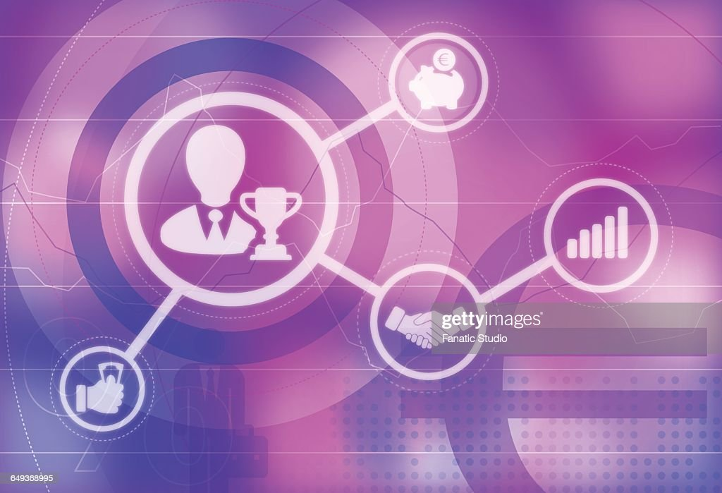 Illustrative Icons Of Business Champion Business Meeting Growth