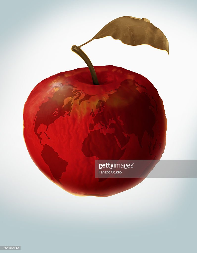 Illustrative image of an apple with world map representing illustrative image of an apple with world map representing environmental damage stock illustration gumiabroncs Images