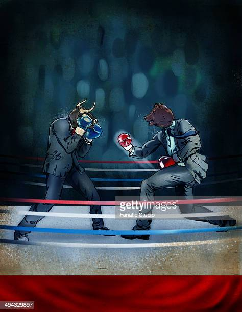 Illustrative image of bear and bull fighting over stock market