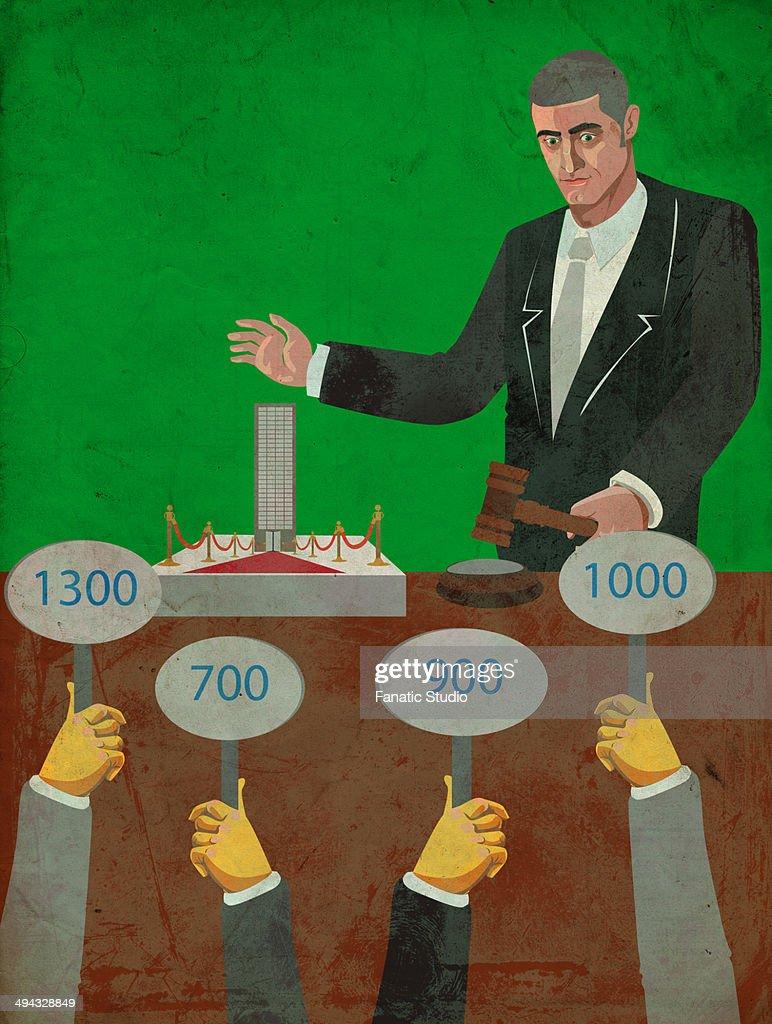 Illustrative image of bidding process of a company : stock illustration