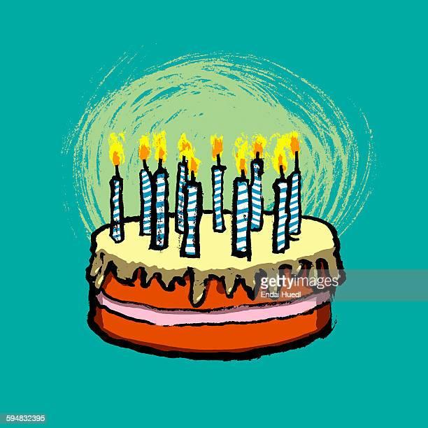 illustrative image of birthday cake against blue background - cake stock illustrations
