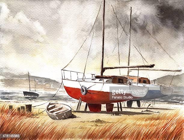 Illustrative image of boats moored at beach