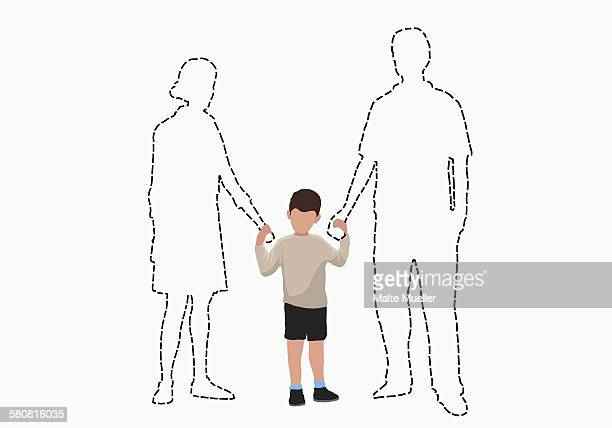 illustrations, cliparts, dessins animés et icônes de illustrative image of boy holding hands of missing parents over white background - famille avec un enfant