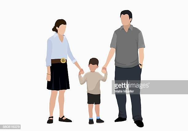 illustrative image of boy holding hands of parents - family stock illustrations