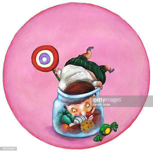 ilustraciones, imágenes clip art, dibujos animados e iconos de stock de illustrative image of boy in candy jar representing unhealthy living - obesidad infantil