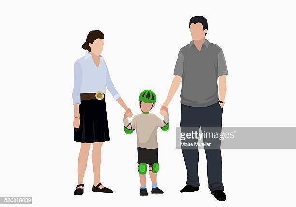 illustrative image of boy in sportswear holding hands of parents over white background - motorcycle helmet isolated stock illustrations, clip art, cartoons, & icons