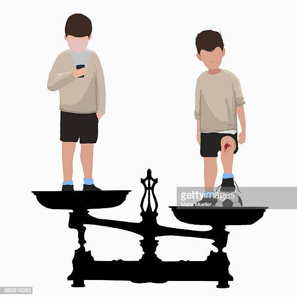 Illustrative image of boys on weight scale one with flashlight and other with soccer ball