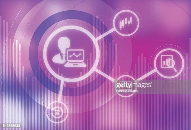 illustrazioni stock, clip art, cartoni animati e icone di tendenza di illustrative image of business analysis and research - rappresentare
