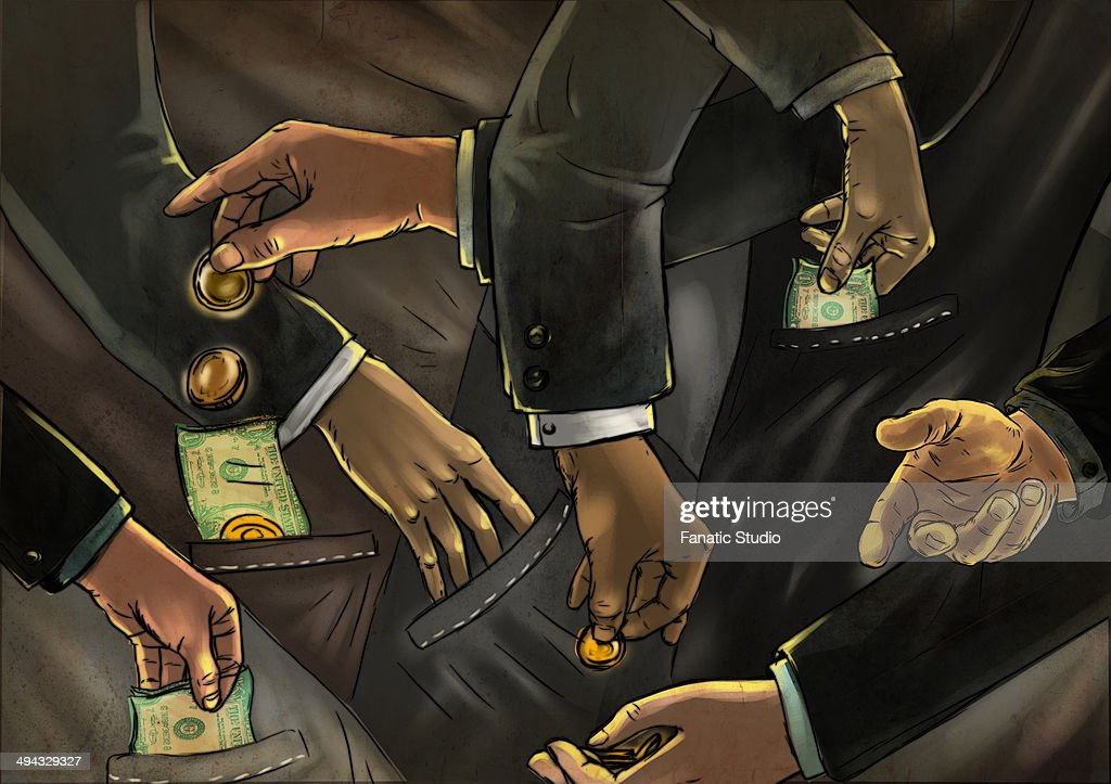 Illustrative image of business people exchanging money representing fraud : Ilustración de stock